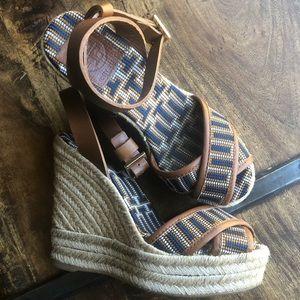Tory Burch espadrille wedge heels worn once! Sz 5